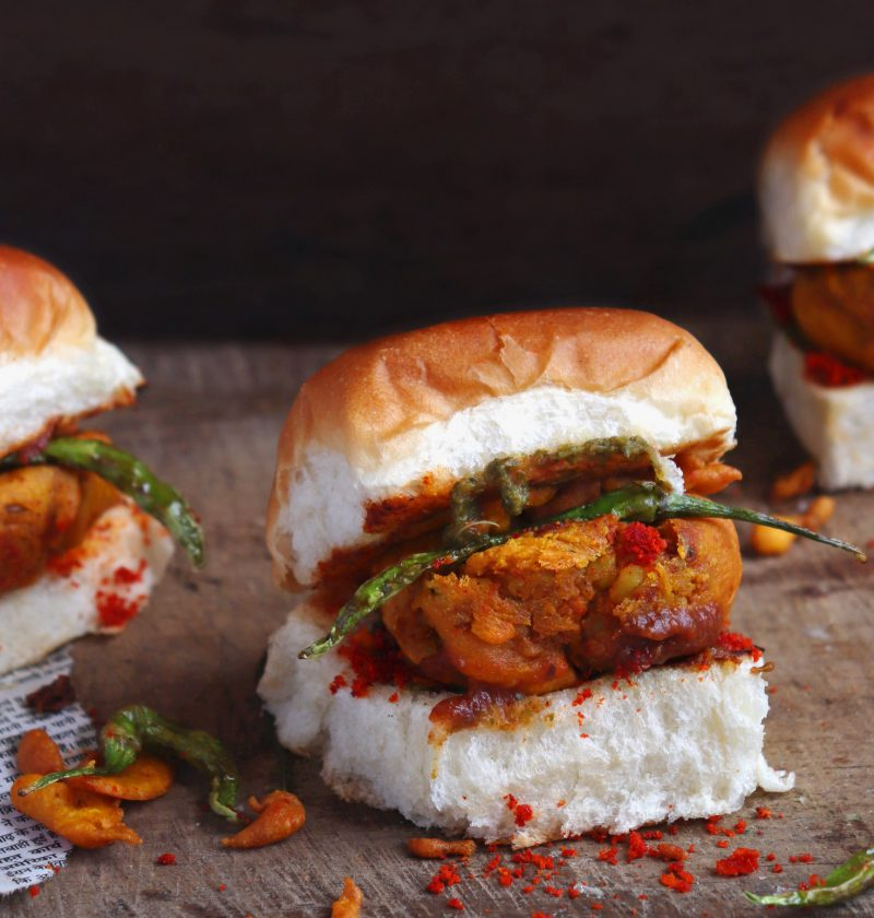 Vada Pav Recipe on a wooden table
