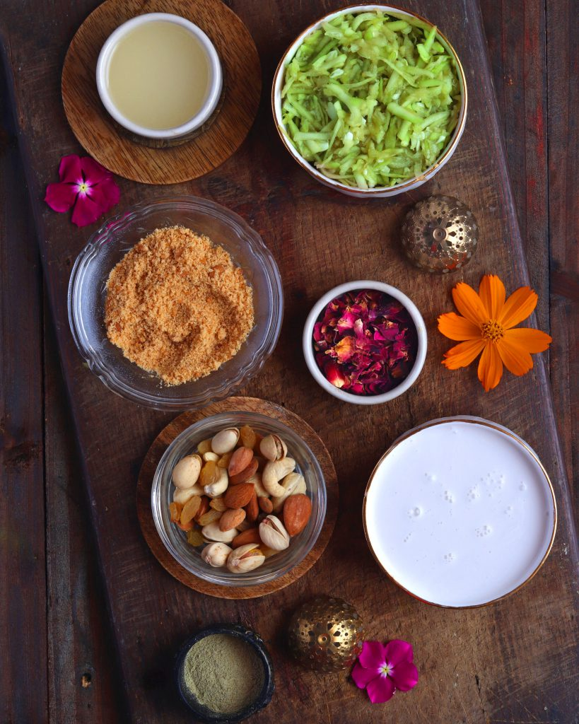 Vegan Lauki Coconut Halwa ingredients in white bowl on a wooden table