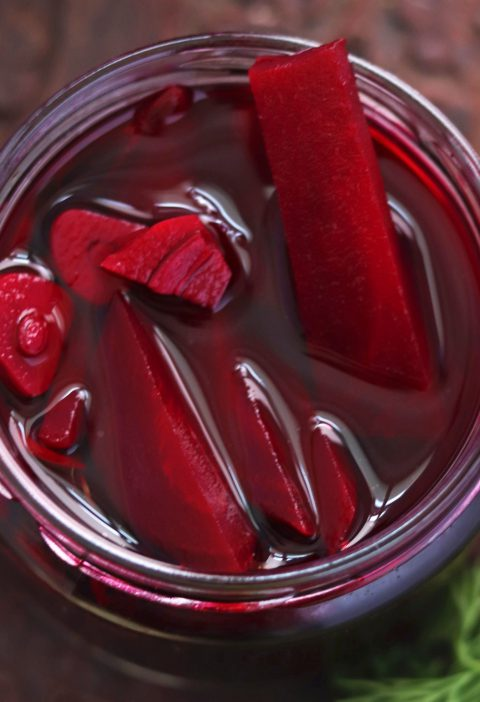 Instant Beetroot Pickle with Jaggery in a glass jar