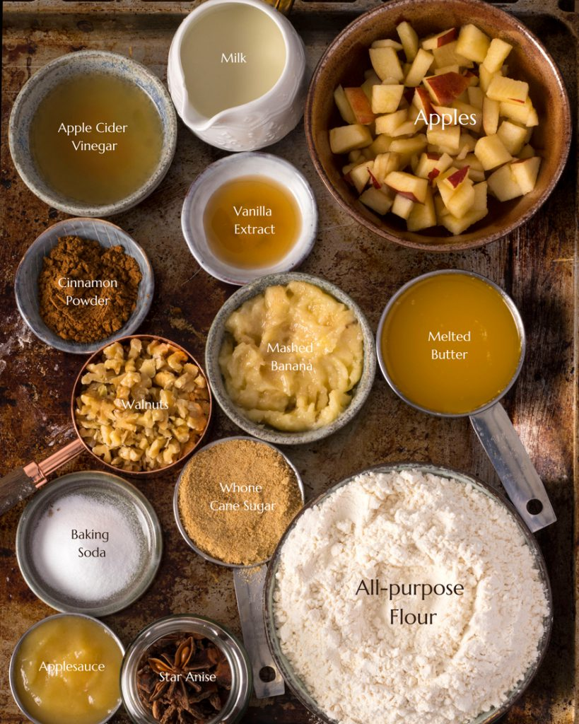 All ingredients of Eggless Apple muffins